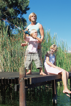 boy fishing with mother and father