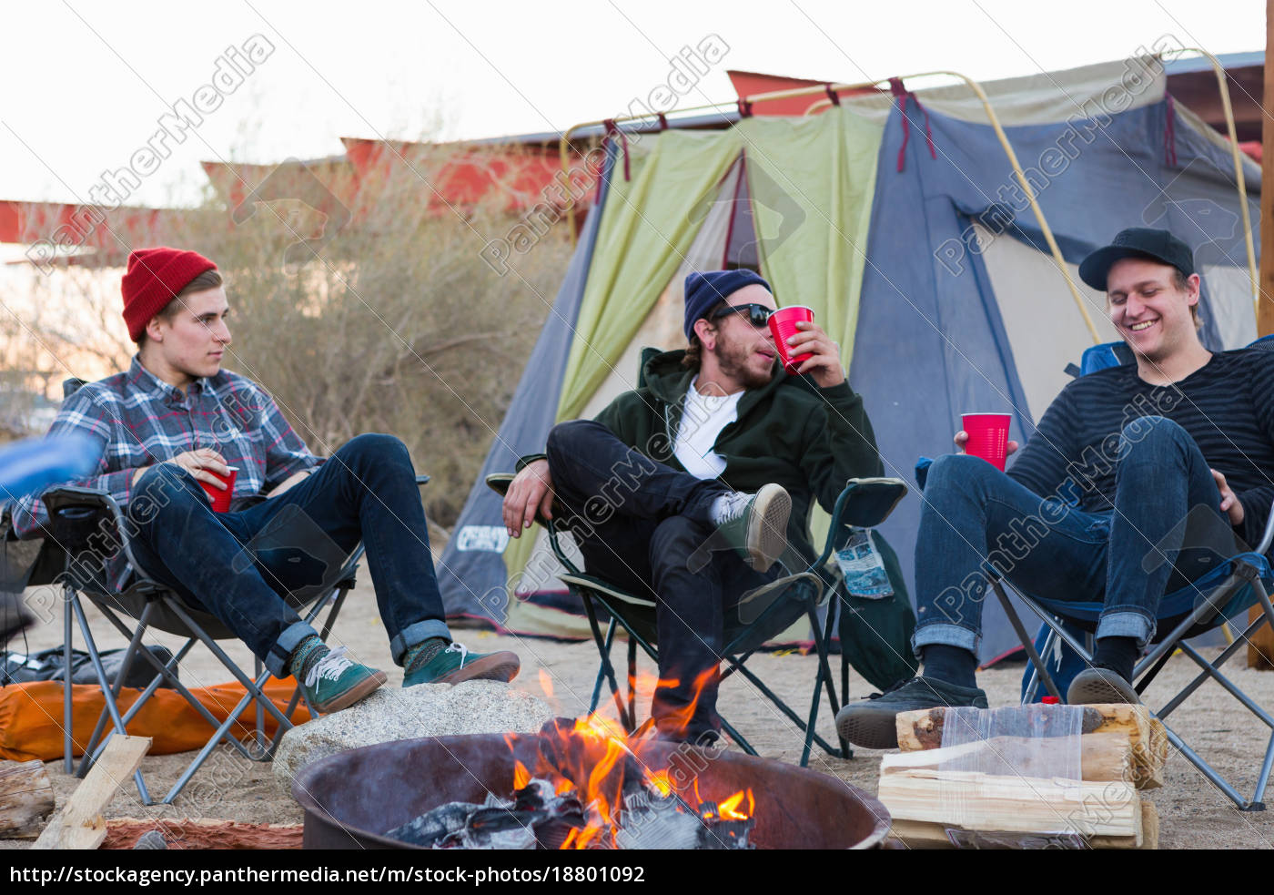 three, young, male, friends, sitting, chatting - 18801092