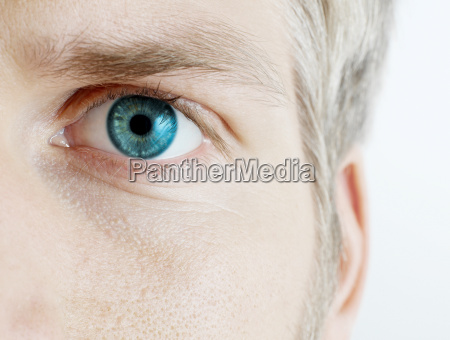 close up of mans eye