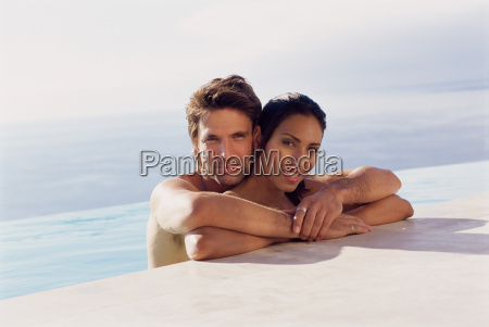 couple at the edge of swimming