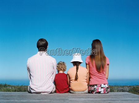 family looking out to sea