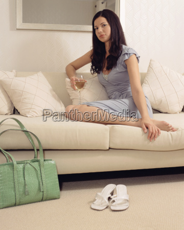 woman on the sofa with a