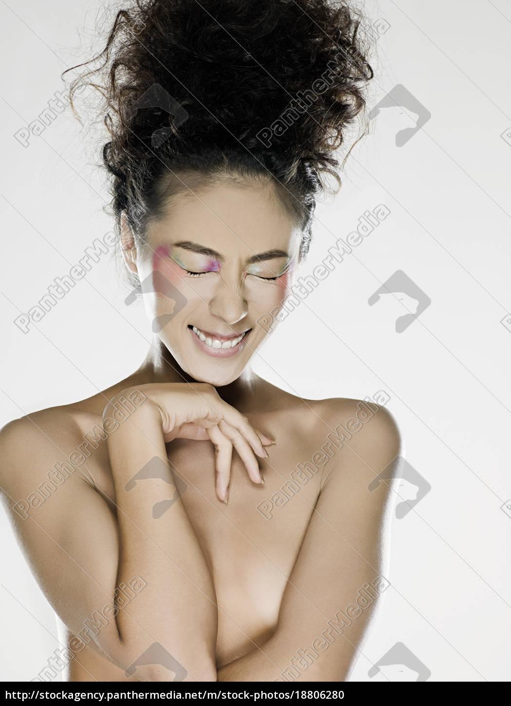 nackte, frau, lächelnd - 18806280