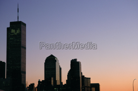 world trade centre in the evening