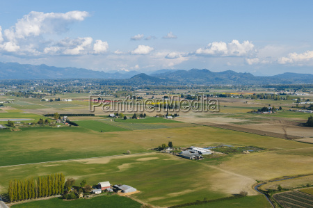 aerial view of valley fields and
