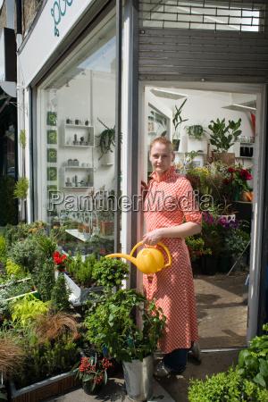 florist watering plants