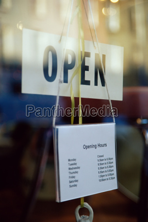 open sign in shop window