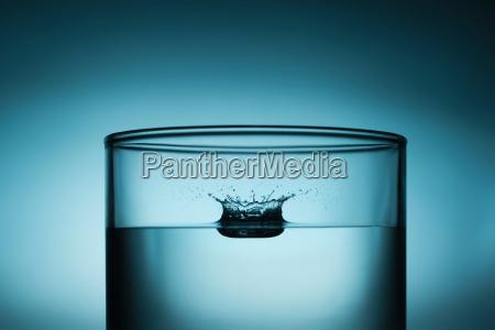 drop splashing in glass of water