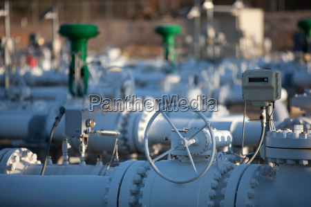 gas pipes in oil refinery close
