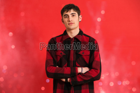 portrait of young man wearing checked