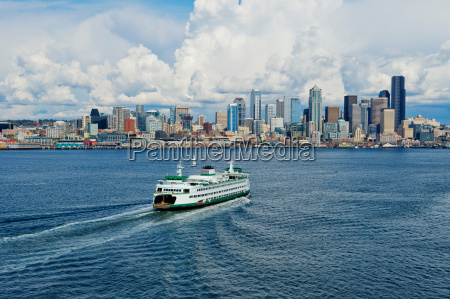 aerial view of ferry seattle washington