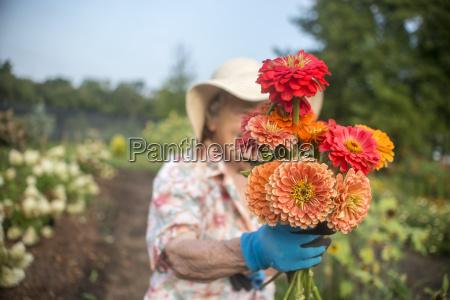 portrait of senior female farmer holding