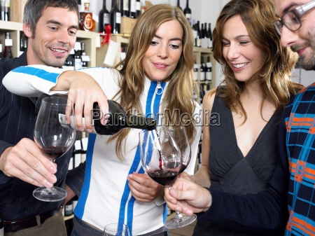 group of friends at wine tasting