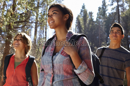 three young adult friends hiking in
