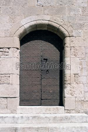 door in a stone wall