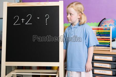 girl looking at blackboard