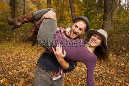 portrait of young couple fooling around