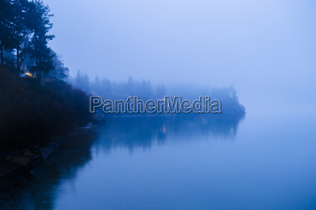 misty view of waterfront on puget