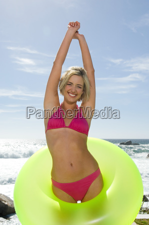 woman in inflatable ring