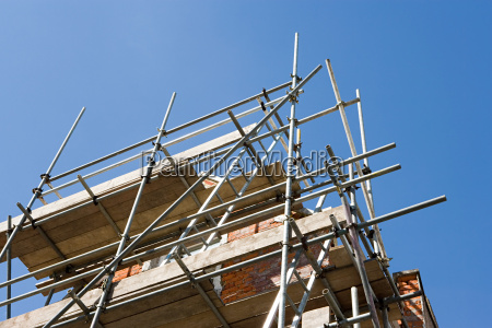 scaffolding on a house