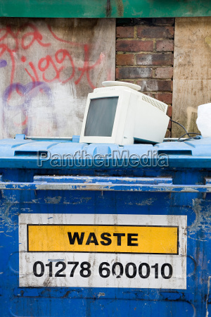 computer monitor on top of skip