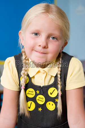 girl wearing stickers