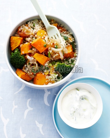 vegetable and quinoa salad in bowl