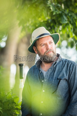 portrait of scientist at plant growth