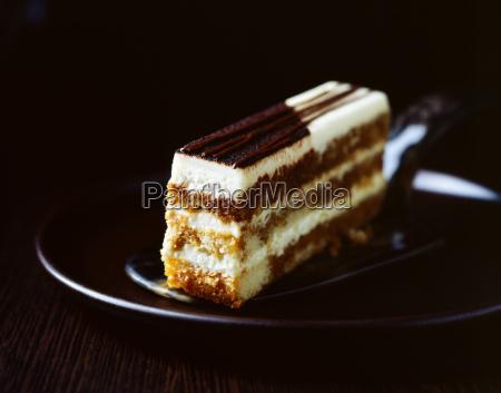chocolate sponge cake slice
