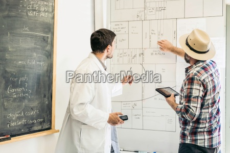 scientists planning on whiteboard in plant