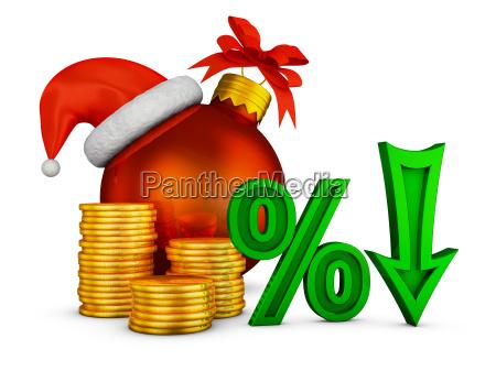 arrow percent and christmas ball