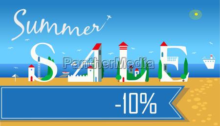 summer sale ten percents summer beach