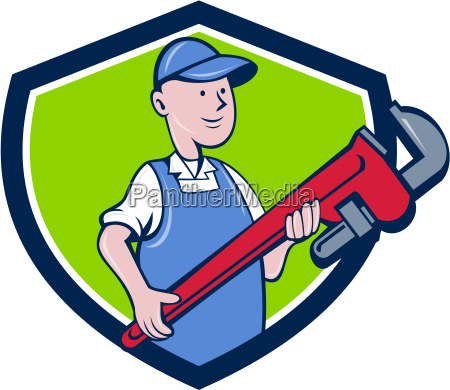 mechaniker cradling pipe wrench crest cartoon