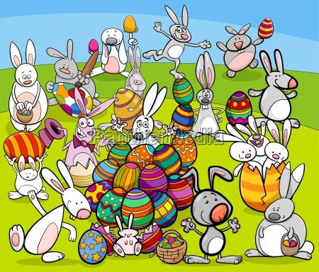 easter bunny big group cartoon