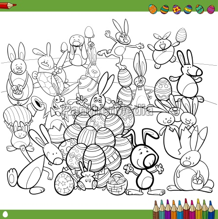 easter bunnies for coloring