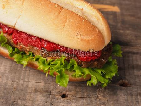close up of a tasty burger