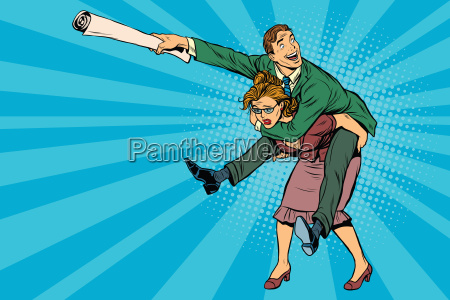 business people man riding on woman