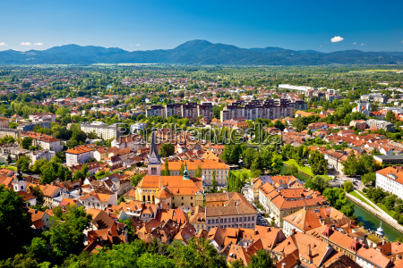 city of ljubljana and mountains aerial
