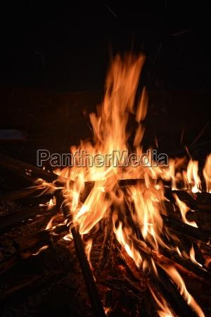 big campfire at night