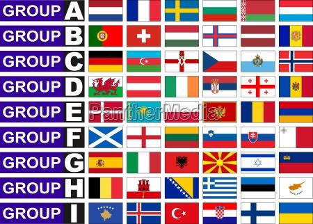 flaggen der europaeischen qualifikationsgruppe fussball weltmeisterschaft