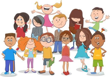kids or teens group cartoon