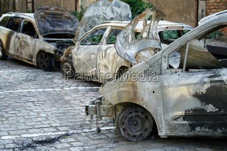 burned out cars after an arson