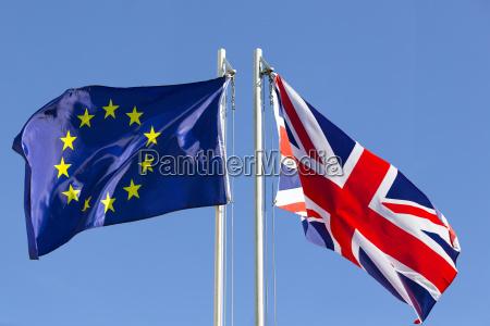 european union flag and flag of