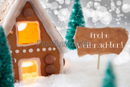 gingerbread house silver background frohe weihnachten