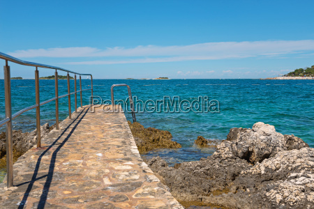 blau strand kroatien gangway laufsteg pfad