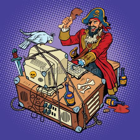 software piraterie die hacker kapitaen