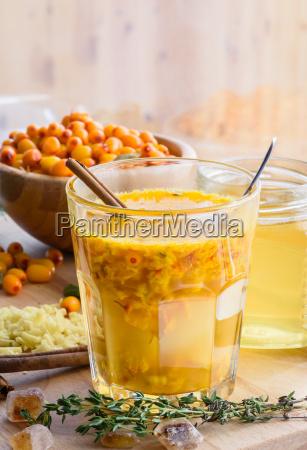sanddorn honig ingwer mischung aus glas