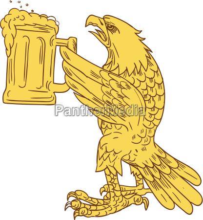 american bald eagle beer stein drawing