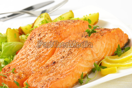 dish of salmon fillets with roasted