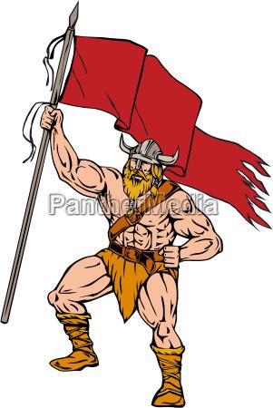 viking krieger brandishing rote flagge retro
